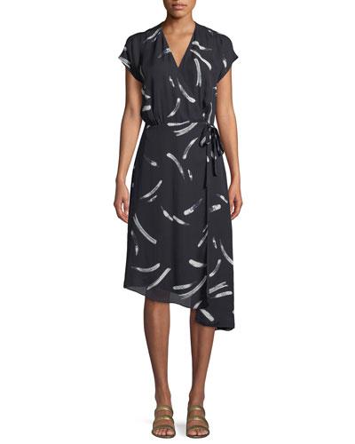 Bethwyn Printed Short-Sleeve Wrap Dress