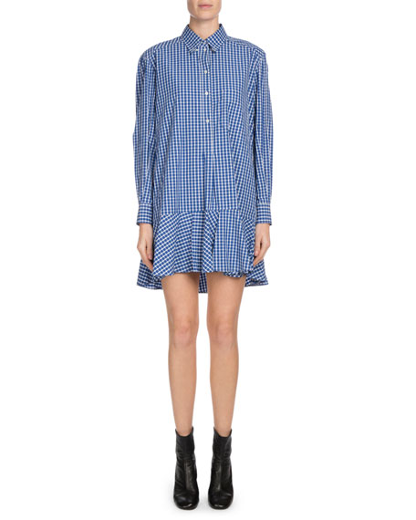 Ondria Check-Print Flounce Shirt Dress