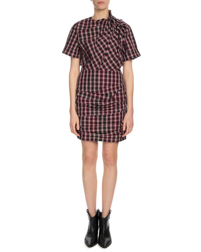 Oria Shirred Check-Print Dress