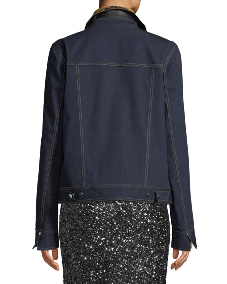 Kesha Denim Jacket w/ Leopard Collar