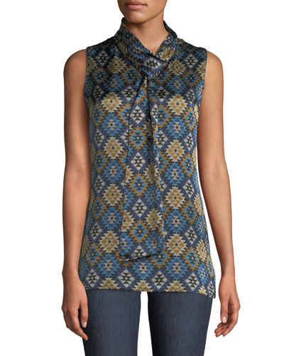 Abbie Aztec Artistry Silk Blouse w/ Self-Tie Neck