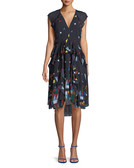 Kiersten Printed Silk Ruffle Dress by Joie