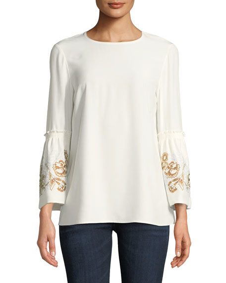 Roslin Matte Silk Blouse w/ Embroidered Sleeves