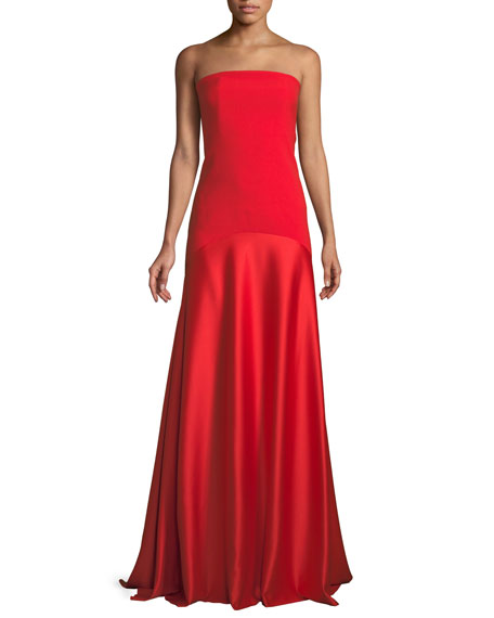 Allesandra Strapless Floor-Length Formal Dress in Red