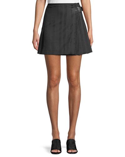 Striped Wool Kilt Skirt w/ Buckle