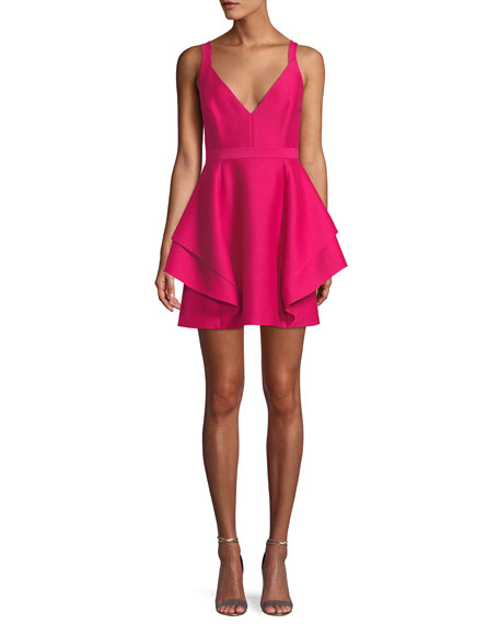 Halston Heritage Sleeveless Dramatic Flounce Mini Dress