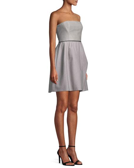 Striped Strapless Cocktail Dress w/ Folded Drape