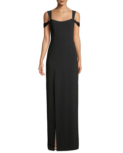 Cold-Shoulder Fitted Crepe Gown
