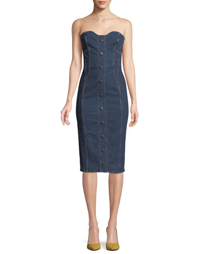 Liza Strapless Sweetheart Denim Dress