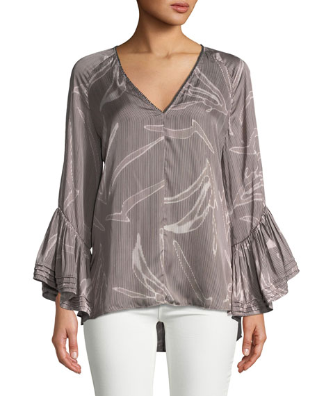 Halston Heritage Printed Ruched Long-Sleeve Blouse