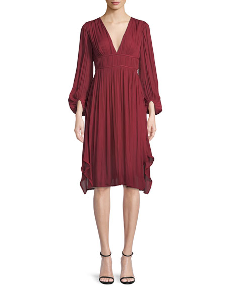 Flowy Bishop Sleeve Ruched Dress