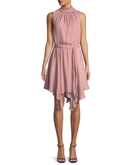 Halston Heritage High-Neck Smocked Ruffle Mini Dress