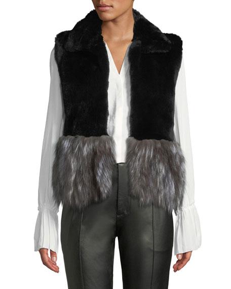 ADRIENNE LANDAU Short Fur Vest W/ Contrast Fur Hem, Black