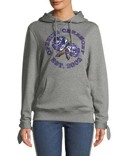 Embroidered Logo Graphic Hoodie Sweatshirt