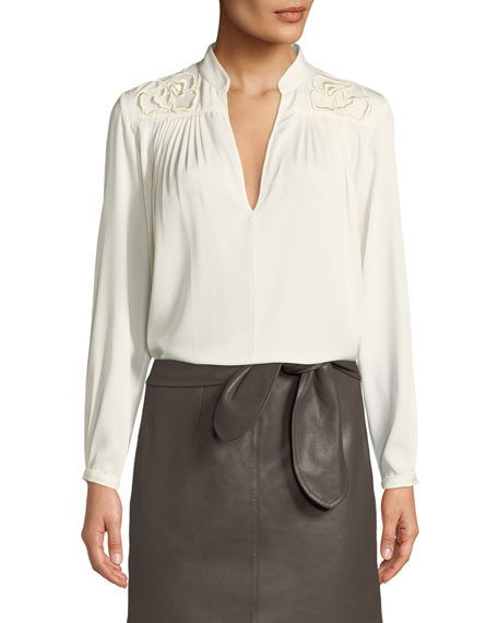 Halston Heritage Floral Embroidered Long-Sleeve Blouse