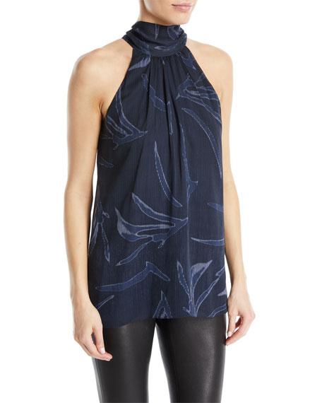 Halston Heritage Mock-Neck Printed Silk Blouse
