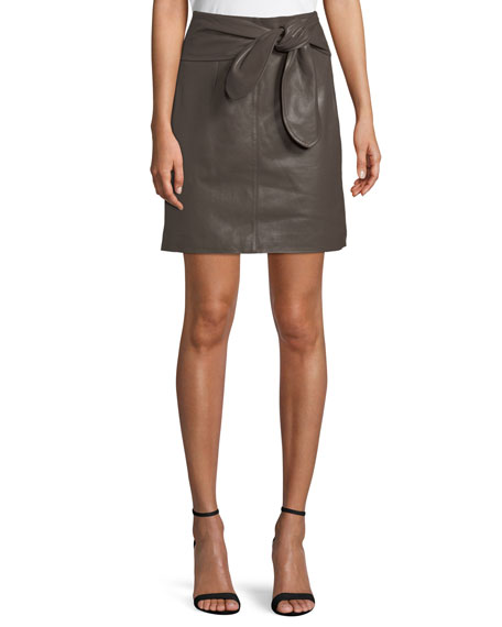 Halston Heritage Leather Tie-Waist Mini Skirt