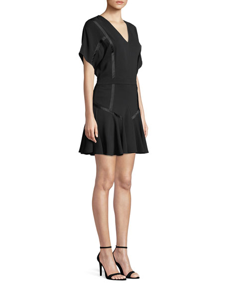 Satin-Trim Flounce Dress