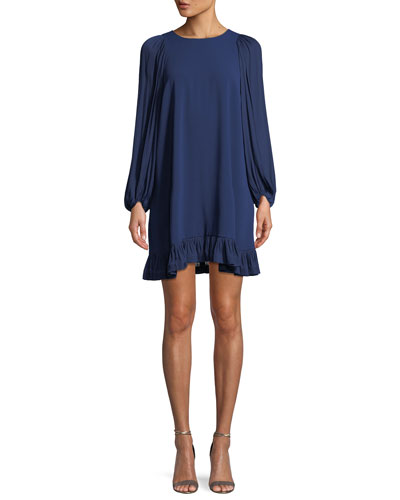 Blouson-Sleeve Ruffled Shift Dress