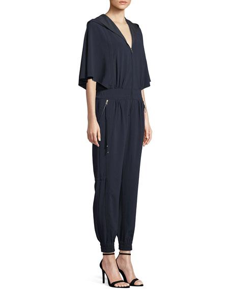 Cape-Sleeve Hooded Zip Jumpsuit