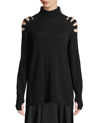 Wool Cutout Turtleneck Sweater