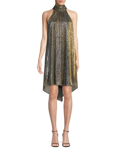 Metallic Jersey High-Neck Dress