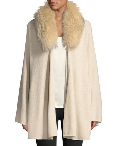 Cape-Sleeve Cardigan Sweater w/ Detachable Fur Collar