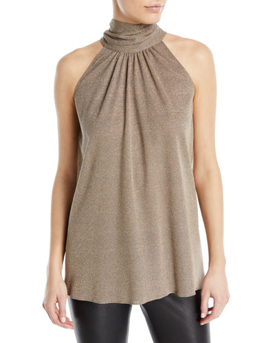 Sleeveless Draped Metallic Blouse