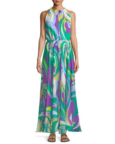 Parrot-Print Silk Coverup Maxi Halter Dress, Multi
