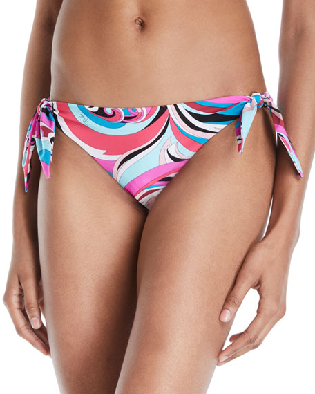 Emilio Pucci Parrot Printed Side-Tie Hipster Bikini Bottoms