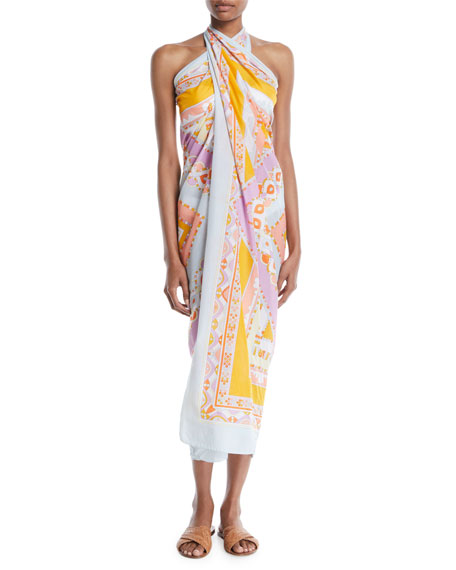 Postcards Printed Cotton Pareo Coverup