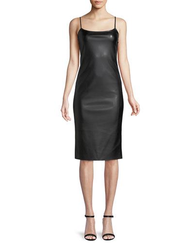 Sleeveless Bedford Faux-Leather Skinny Slip Dress