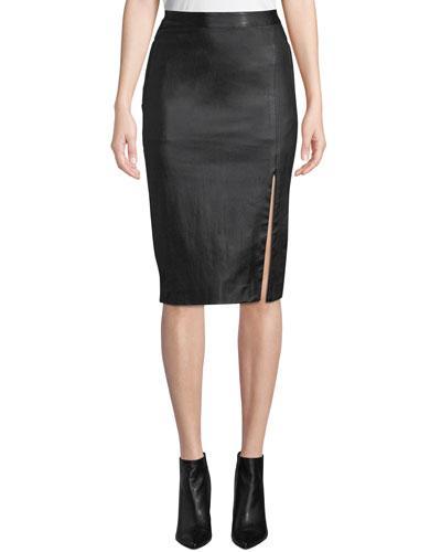 Bristol Leather Zip-Front Pencil Skirt