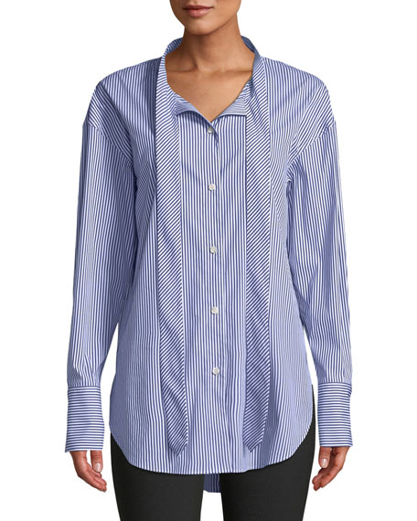 Weekender Tie-Neck Button-Down Long-Sleeve Franklin Stripe Shirt