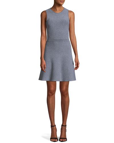 Marled Fit-and-Flare Glossed Knit Mini Dress