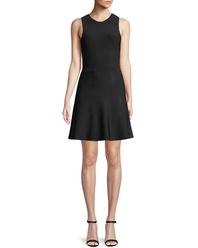 Sleeveless Fit-and-Flare Glossed Ponte Knit Dress