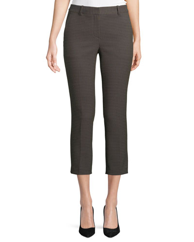 Treeca 2 Dotted-Jacquard Straight-Leg Cropped Pants