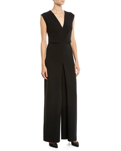 Pleated Crepe Wide-Leg Sleeveless Jumpsuit
