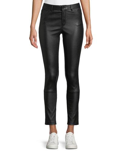 Five-Pocket Skinny-Leg Bristol Leather Cropped Pants