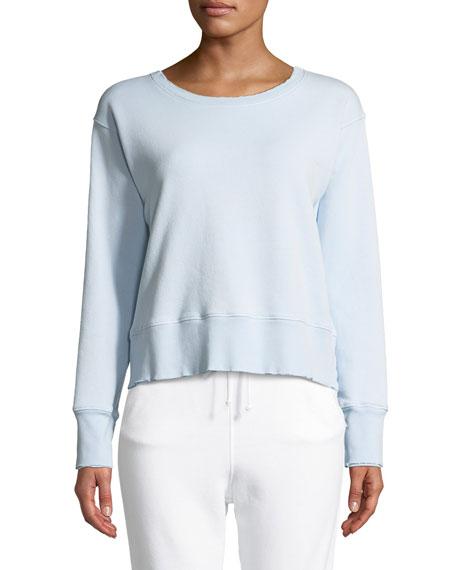 Frayed Crewneck Cotton Sweatshirt in Blue