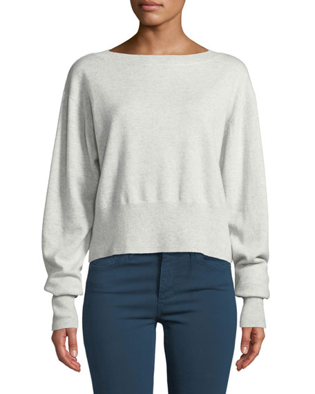 AUTUMN CASHMERE Cropped Boxy Boat-Neck Cashmere Sweater in Gray