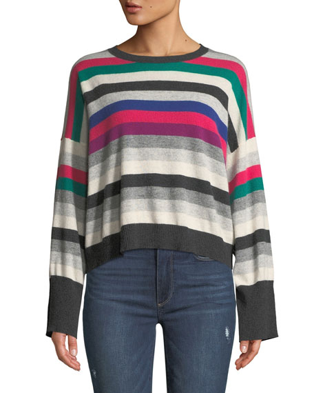 AUTUMN CASHMERE Striped Wide-Sleeve Cashmere Sweater in Multi Pattern