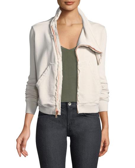 Asymmetric Zip-Front Fleece Jacket in Dirty White