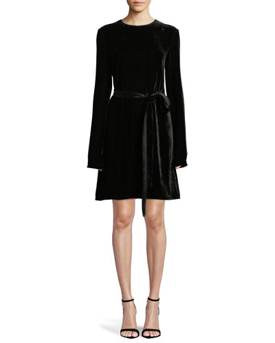 Long-Sleeve Crewneck Belted A-Line Crinkle Velvet Dress