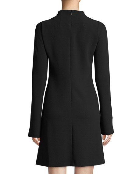 Mock-Neck Long-Sleeve A-Line Admiral Crepe Mini Dress