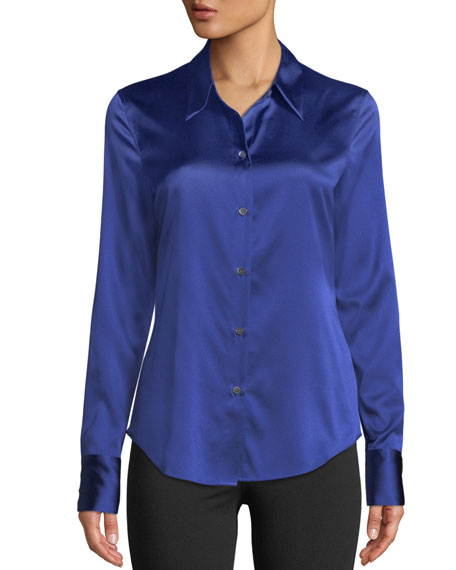 Perfect Fitted 2 Stretch-Satin Long-Sleeve Button-Down Blouse, Silver Mist