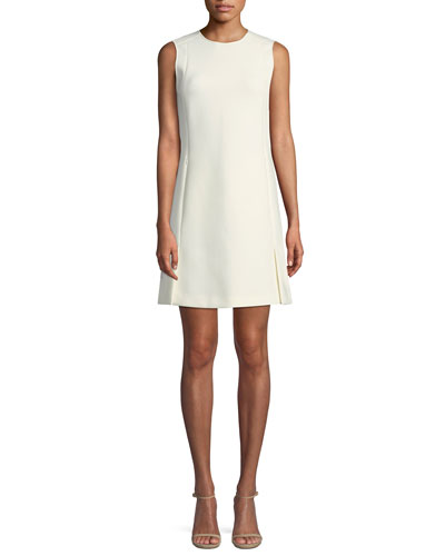 Sleeveless Vent Front Canton Bi-stretch Shift Dress