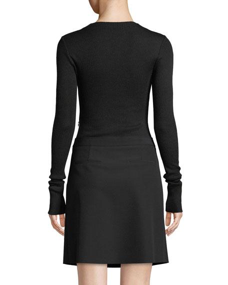 Ribbed Combo Mock-Neck Sweater Dress