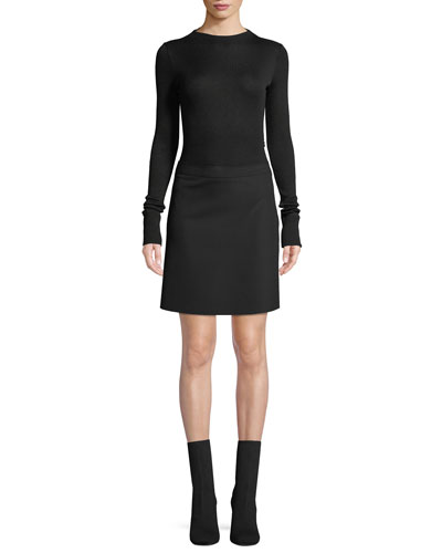 Ribbed Combo Mock-Neck Sweater Dress
