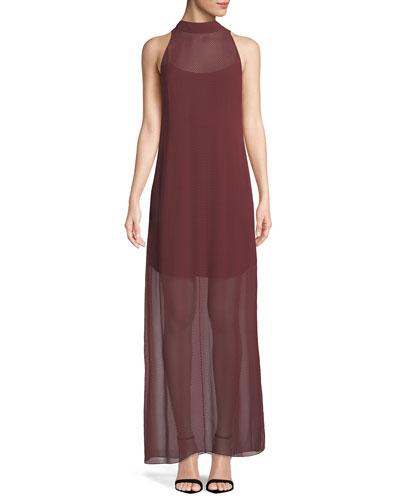 Clean Halter Sleeveless Dot-Chiffon Maxi Dress